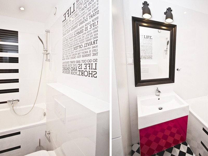 ŁAZIENKA Z POMYSŁEM<br /><span>czarna grafika i amarantowy mocny akcent w mieszkaniu typu studio zrealizowanym w inwestycji Rua Bonita przy ul. Ślicznej 34 w Krakowie</span>