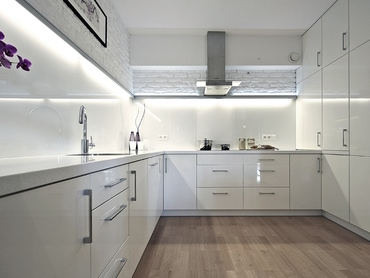 WHITE INTERIOR<br><span>minimalist furniture and white brick warmed with the oak floors made in the Orion Development at 15 Przemysłowa St in Cracow</span>