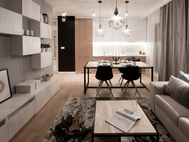 GENTELMAN APARTMENT <br /> <span> industrial accessories in white-gray interior warmed up by wood made in the investment at Szafrana St in Cracow </ span>